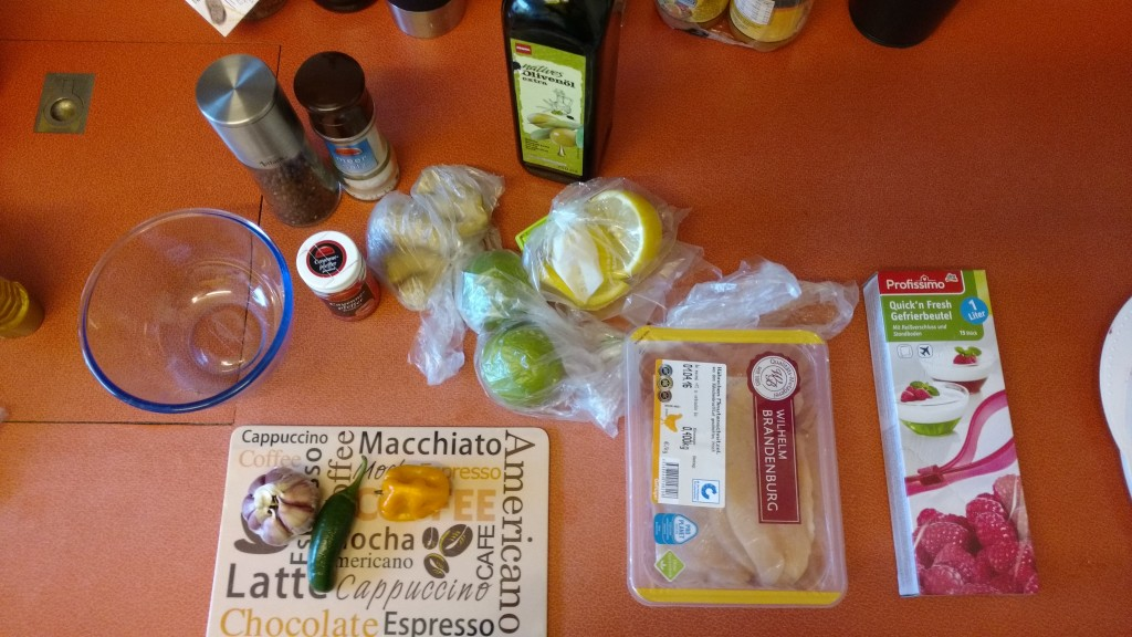 Ingredients for the marinated chicken